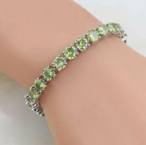 925 Sterling Silver Olive Green Peridot Round Tennis Gemstone women Bracelet new