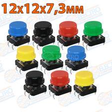 10x Lote Pulsador 12x12 + 10 Teclas redondas 12mm Colores PCB Electronica