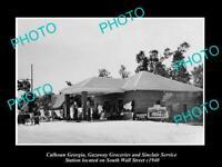 OLD POSTCARD SIZE PHOTO OF CALHOUN GEORGIA THE SINCLAIR SERVICE STATION c1940