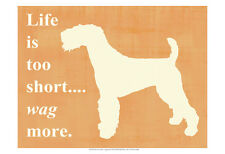 "KERRY BLUE TERRIER DOG ART PRINT - Silhouette ""Life is too Short.... Wag More."""