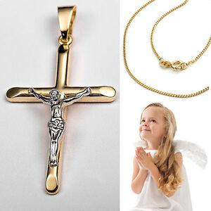 Jesus Christus Korpus Kreuz Anhänger Echt Gold 333 mit Kette Silber vergoldet