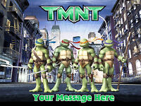 NINJA TURTLES TMNT PERSONALISED EDIBLE  IMAGE ICING PARTY CAKE DECORATION TOPPER