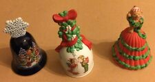 3 Diff - Flawless Avon 1987, 1989, 1991 Christmas Holiday Theme Porcelain Bells
