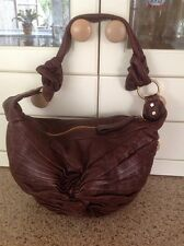 GREAT M&S PER UNA BROWN PLEATED FRONT SINGLE STRAP SHOUDLER BAG USED GOOD COND