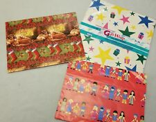 Lot 3 Vtg Wrapping Paper Crafts Stars Children of The World Dog Cat Xmas Scrapbk