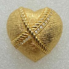 Signed Christian DIOR Vintage PUFFED HEART BROOCH Pin Crystal Rhinestone Jewelry