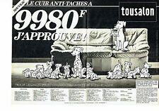 Publicité Advertising 037  1985  Tousalon (2p) salon cuir anti-taches Dalmatiens