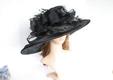 "Church Kentucky Derby Wedding Organza 5~8"" Wide Brim Black hat 5-01"