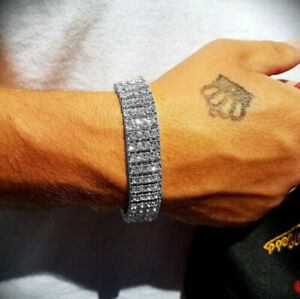MEN'S HIP HOP SILVER PLATED QUAVO 4 ROW LAB DIAMOND TENNIS FULL ICED BRACELET