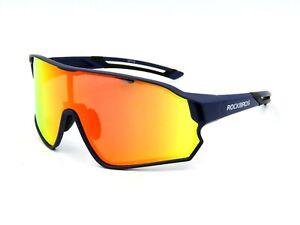 RockBros Polarized Sunglasses Cycling Shield Style. Blue / Mirror Orange #96G
