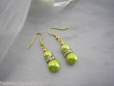 Coloured Pearl & AB Diamante Dangle Drop Earrings Silver / Gold Plated Hooks 3A