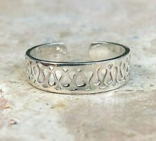 Band Toe Ring New Sterling Silver Solid Weave