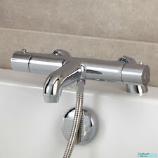 Bathroom Thermostatic Bath Shower Mixer Valve Chrome Modern Tap Deck Mounted