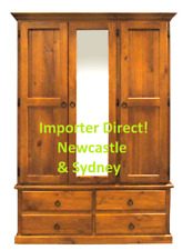 RRP$1299 Pine Timber 3 Door 1200 Robe Wardrobe Hanging Shelving Newcastle Sydney