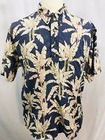 Tori Richard Honolulu Mens Short Sleeve Hawaiian Blue Palm Shirt Sz XL USA Made