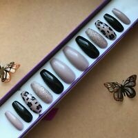 Hand Painted False Nails XL Coffin (or any shape) Black Nude Leopard Champagne