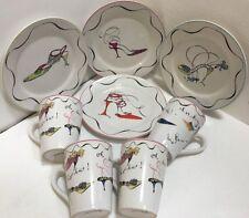 "Rosanna  8 Piece Set  ""Fashion Heels"" (Salad Plates & Mugs)"