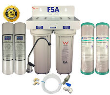 PREMIUM Twin Undersink Water Filter System Watermark NSF + FREE Filters 1-46W