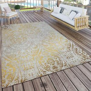 Tappeto per interni ed esterni, motivo orientale, giallo crema
