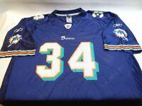 Ricky Williams Miami Dolphins NFL Equipment Reebok Alt Blue Jersey Mens Size XL