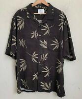 Paradise by Axis Black Silk Shirt Tan Multi Floral Palm Short Sleeve Button XL
