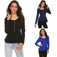 Women Long Sleeve Asymmetrical Zipper Peplum Top T-Shirt GDY7
