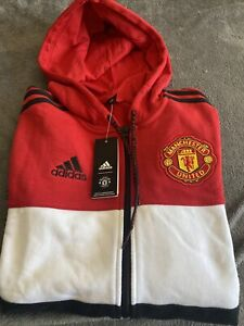 MEN'S ADIDAS MANCHESTER UNITED TRACK TOP HOODIE SIZE UK SMALL. BRAND NEW TAGS
