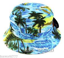 Bucket hat Boonie cap Hawaiian Island Beach Palm tree  Fishing Hunting Outdoor