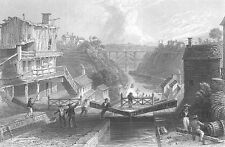 LOCKPORT, LAKE ERIE BOAT SHIP CANAL ~ Antique 1838 Landscape Art Print Engraving