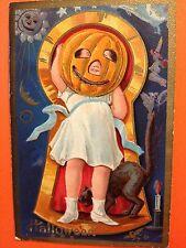 Halloween postcard Nash girl with JOL on head Keyhole, black cat,  witch