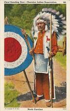 Postcard North Carolina Cherokees Standing Deer Native American Indians