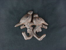 "Heavy Duty Ornamental Cast Iron Forest Birds Double Coat Hook 4 1/2"" Wall Hook"