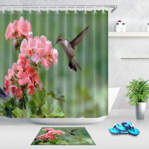 Polyester Waterproof Fabric Shower Curtain Set Hooks Hummingbird Pink Geranium