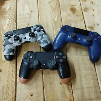 PS4 Wireless Controllers Lot Of 3 Blue Tan Camo Sony Authentic Joysticks