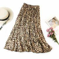 Femme Rétro Leopard Impression Plissée Lady Mid Waist Big Swing Jupe Simple Robe