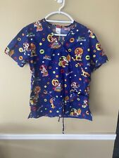 Disney Halloween Scrub Top Donald Duck Mickey Mouse Trick Or Treat Size S