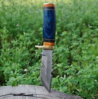 CUSTOM HAND FORGED DAMASCUS STEEL Hunting KNIFE W/ Wood Brass Guard HANDLE-
