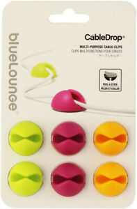 BlueLounge CableDrop Adhesive Cable Clips, Bright, Pkg/6