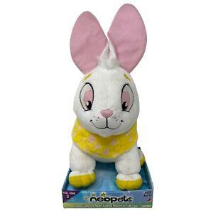 """Neopets 2008 Jakks Cybunny 14"""" White Yellow Pink Dots Rabbit Rare Plush Series 2"""