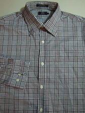 LINCS David Chu Button Front Shirt LARGE Black White PLAID Check Men's LS Luxury