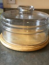 Vintage Princess  House Wood Cheese Board-Heavy Glass Dome -BRAND NEW-NEVER USED