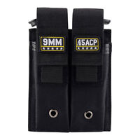 Black Molle Double Pistol Mag Pouch Single and Double Stack Magazine Holster