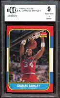 1986-87 Fleer #7 Charles Barkley Rookie Card BGS BCCG 9 Near Mint+