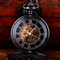 Retro Black Windup Skeleton Pocket Watch Chain Fob Mechanical Pendant Steampunk