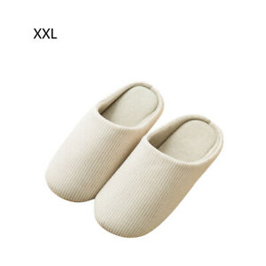 Beige Indoor Slippers Soft Cotton Washable Non-Slip Home Casual Lovers Shoes XXL