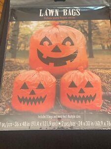 "HALLOWEEN Pumpkin Lawn Bags Leaf (2) 24"" x 30"" & (1) 36""x 48"",NEW 3 Bags w/ Ties"