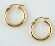 9ct Gold Hoop Earrings - Round Tube - 22mm