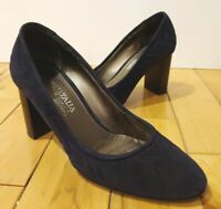 "Aquatalia by Marvin K Womens Dark Navy Blue Quilted Suede Pumps 3.25"" Heels 6.5M"
