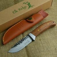 Elk Ridge Wood Handle Hammered Finish Fixed Blade Knife With Sheath ER-268