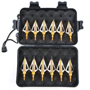 12pcs Hunting Broadheads Arrowheads 3 Blade Tips 100gr Box Archery Bow Crossbow
